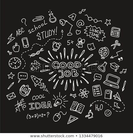 werk · studie · groene · schoolbord · doodle - stockfoto © tashatuvango