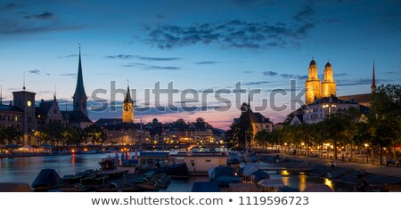 Panorama of Zurich at night Stock photo © benkrut
