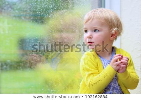 Kid meisje regenachtig dag illustratie cute Stockfoto © lenm