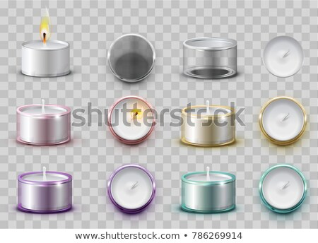 Set modern wax aromatic candle in round metal container Stock photo © orensila