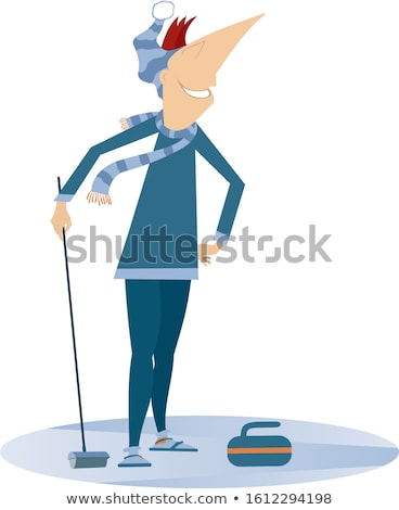 Smiling young man plays curling isolated illustration Stock photo © tiKkraf69