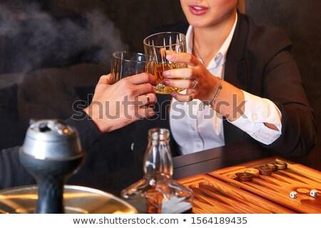 genç · kadın · içme · gece · kulübü · kadın · mutlu · cam - stok fotoğraf © monkey_business