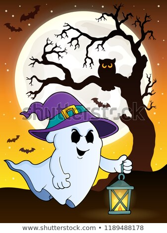 Spook hoed lantaarn boom maan kunst Stockfoto © clairev