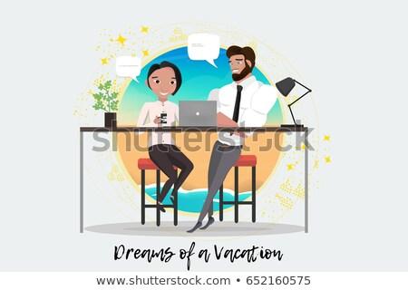 Homem mulher escritório sonho férias conjunto Foto stock © robuart