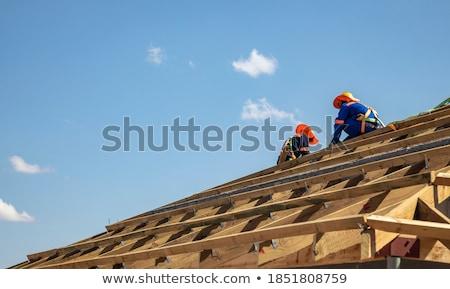 blue corrugated walls beams stock photo © bobkeenan