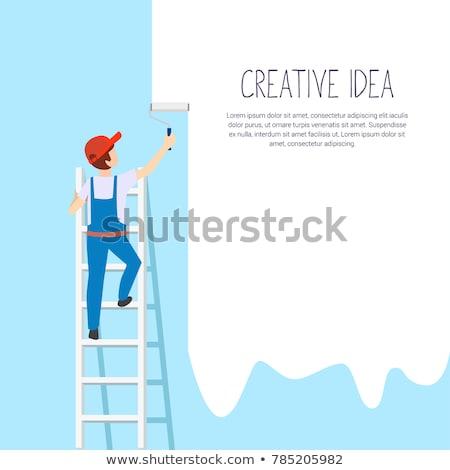 Malarz człowiek pracy wiadro ściany malarstwo Zdjęcia stock © lightpoet