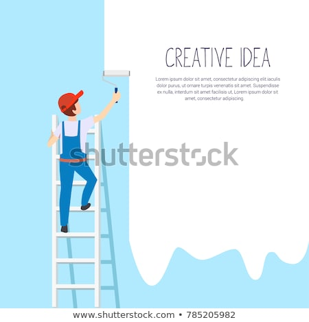 painter man at work with a paint bucket stock photo © lightpoet