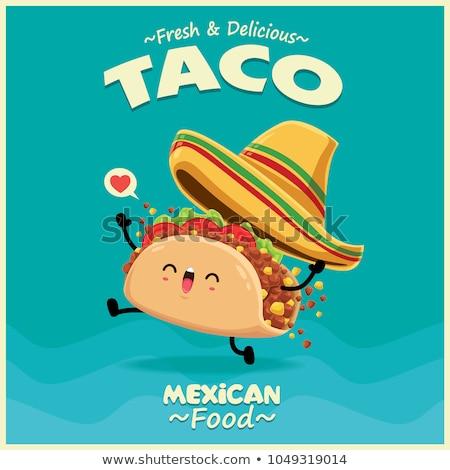 Vector taco illustratie label menu icon Stockfoto © tele52