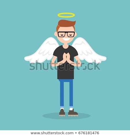 Cartoon sorridere angelo uomo Foto d'archivio © cthoman