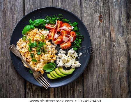 Stockfoto: Avocado · tomaat · witte · restaurant · groenten