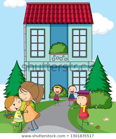 Children infront of simple house Stock photo © colematt