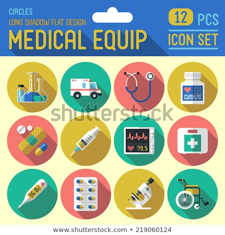Digital thermometer. Medicine flat color icon with shadow on a green circle Stock photo © Imaagio