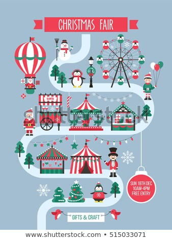 Christmas Fair with Fir-tree and Shop-Fairs Vector Stock photo © robuart