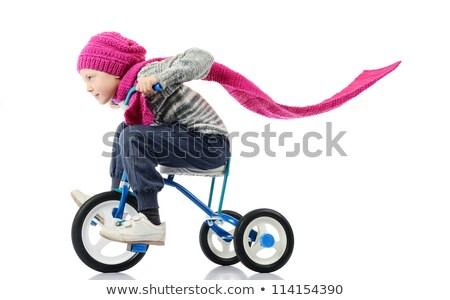 çocuk binicilik bisiklet beyaz örnek kız Stok fotoğraf © colematt