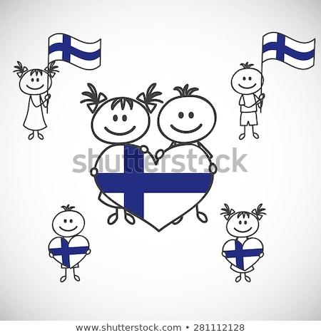Kid meisje Finland vlag illustratie kostuum Stockfoto © lenm
