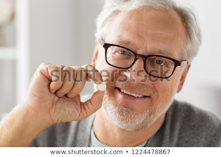 портрет · старший · человека · очки · белые · волосы - Сток-фото © dolgachov