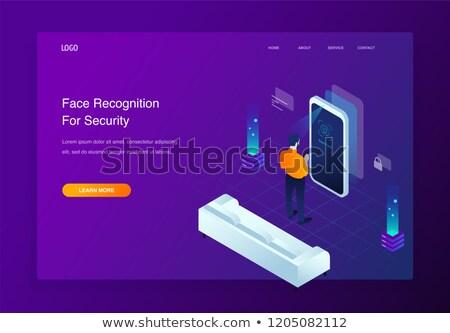 isométrique · reconnaissance · technologie · sécurité · icônes · numérique - photo stock © frimufilms