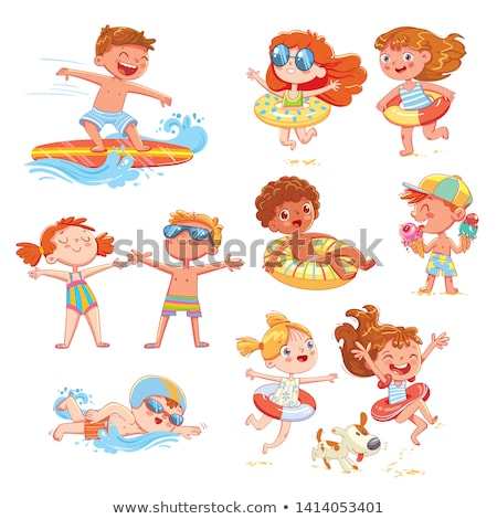 Child in Inflatable Circle Jumping in Sea Vector Stock photo © robuart