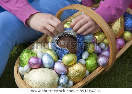 hand of child with chocolate easter eggs in foil Stock photo © dolgachov