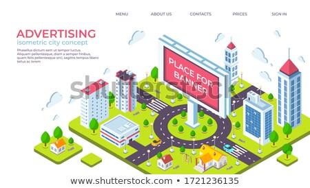 outdoor advertising design isometric 3d landing page stock photo © rastudio