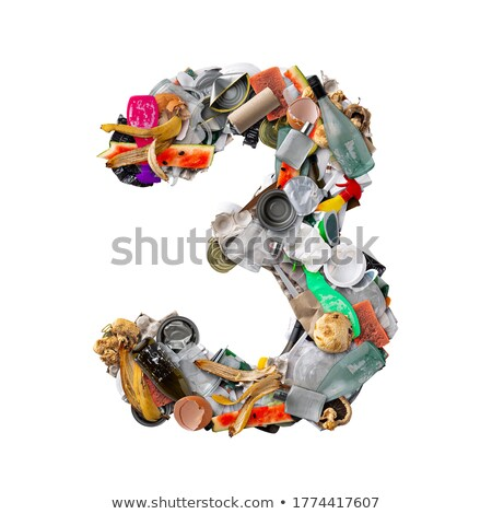 Number three made of plastic waste bottles Stock photo © lightkeeper