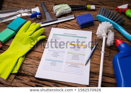 Temizleme ürünleri etrafında haftalık temizlik plan form Stok fotoğraf © AndreyPopov