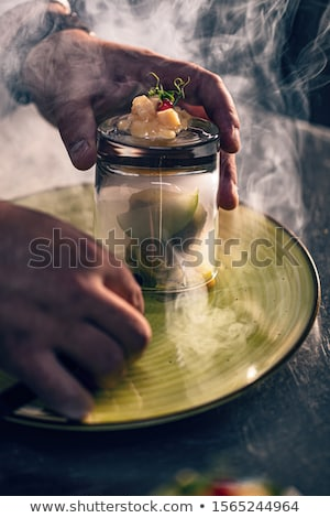 Füstölt liba máj zöld alma birsalma Stock fotó © grafvision