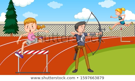 Scene with people doing track and field sports Stock photo © bluering