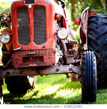 Vintage vermelho trator paisagem velho enferrujado Foto stock © ivonnewierink