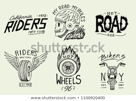 Hand drawn sketch, racer skull with helmet Stock photo © netkov1
