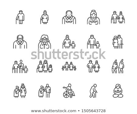 Elder Man Stick Icon Vector Outline Illustration Stok fotoğraf © Nadiinko