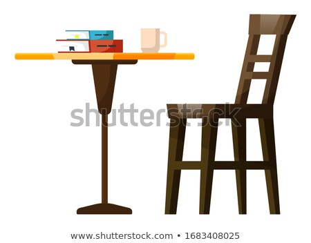 Cafe Furniture with Cup and Book Symbol Vector Stock photo © robuart