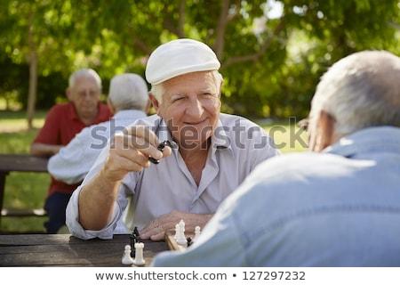 Dos hombres jugando ajedrez parque éxito blanco Foto stock © johnkwan