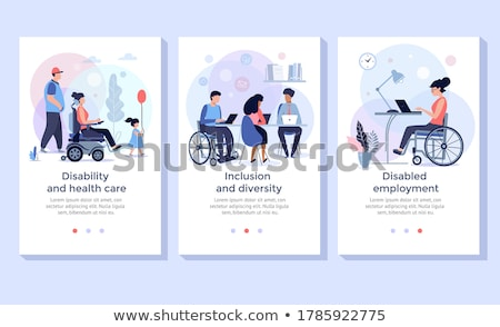 Social adaptation of disabled people concept landing page Stock photo © RAStudio