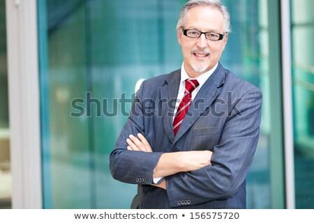 Zdjęcia stock: Starszy · biznesmen · ręce · kopia · przestrzeń · odizolowany · czarny