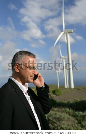 Man telefoon windturbine business zakenman industrie Stockfoto © photography33