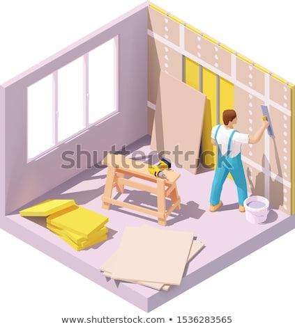 Trabajador de la construcción pared edificio marco sombrero bordo Foto stock © photography33