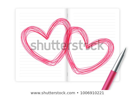 Pencil and notebook with Heart isolated on white background stock photo © pinkblue
