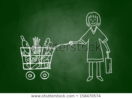 Chalk drawing of Shopping cart on a smudged blackboard Stock photo © bbbar
