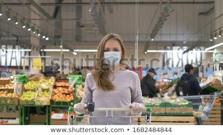 Kadın lastik eldiven kız eller gülümseme Stok fotoğraf © photography33