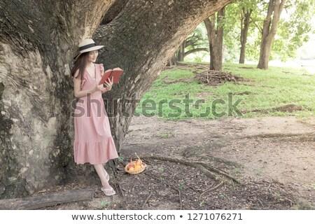 Meisje student boek openbare tuin zomer Stockfoto © Traven