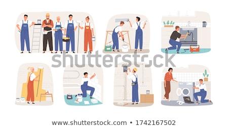 Női otthon munkás belső padló póló Stock fotó © photography33