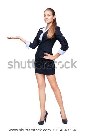 женщину черный костюм белый знак бизнеса Сток-фото © photography33