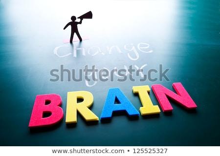 変更 脳 男 単語 黒板 ビジネス ストックフォト © Ansonstock