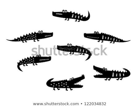 Cartoon krokodyla przedstawia zielone stałego dwa Zdjęcia stock © Thodoris_Tibilis