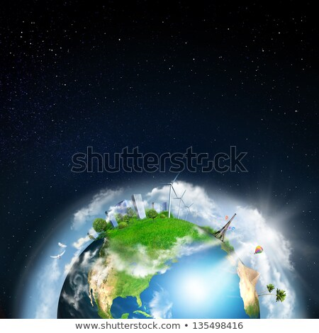 Earth with different elements on its surface. Night time Stock photo © HASLOO