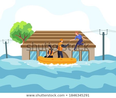 Buildings sinking in flood water Stock photo © zzve
