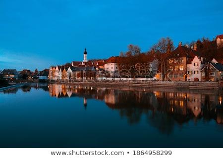 reflection of landsberg am lech by night stock photo © faabi