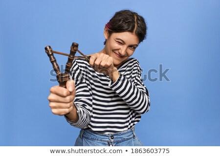 Girl Aims a Slingshot Stock photo © PetrMalyshev