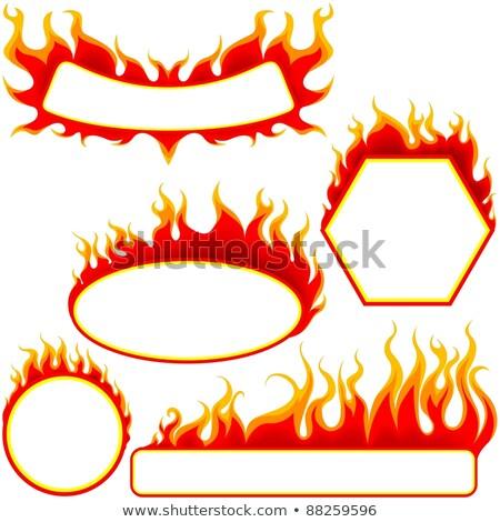огня овальный Баннеры иллюстрация вектора Сток-фото © derocz